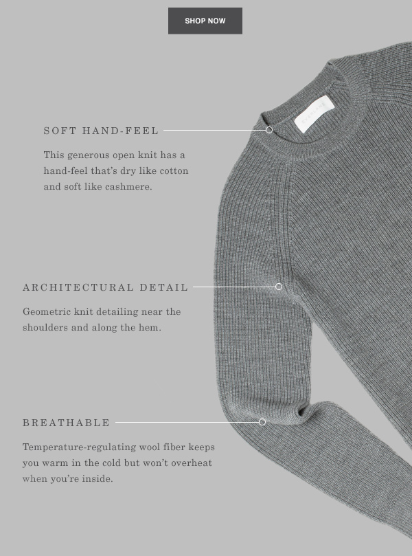 Soft Hand-Feel. Architectural Detail. Breathable. Shop Now.